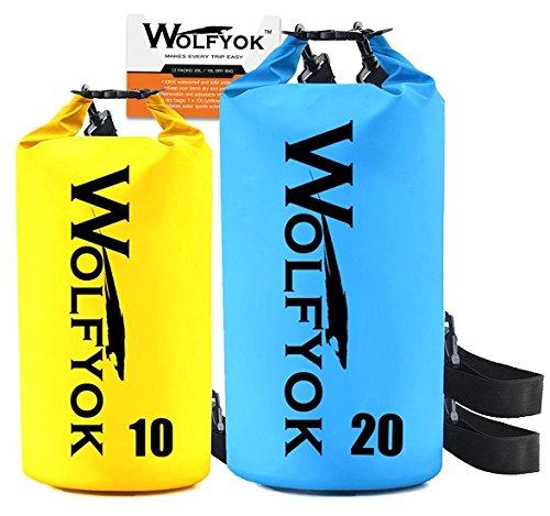 ドライバッグ Wolfyok(TM) 3way 防水バッグ 10L/20L容量 ショルダー ボートやカヤック用 ラフティング 釣りなどに適用 (2点セット)