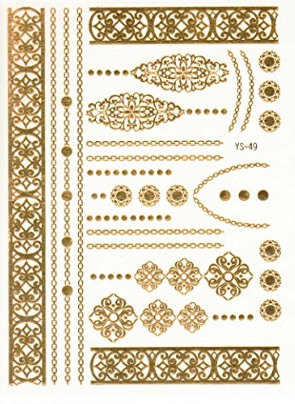 知っているに立ち寄るなめらか電化するメタリックタトゥー FLASH TATTOOS タトゥーシール 26