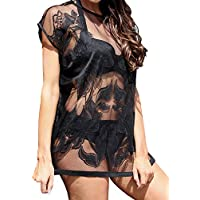 LaSculpte Women's Floral Lace Crochet Tunic Kaftan Swimsuit Cover up Beach Dress Black