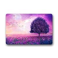 """家/オフィス/寝室のゴム製滑り止め23.6 c0239a5f6def4bのためのすばらしい紫色の夢の木の花のドアのマットのドアマット敷物X 15.7""""(W) 60x40cm"""