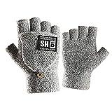 「4色」Caseeto 手袋 メンズ ニット スマホ手袋 汚れにくい 2WAY グローブ アウトドア通勤通学 (フリーサイズ, B-Gray)