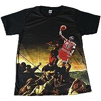 マイケルジョーダン 絵画 イタリア バスケストリート系 おもしろTシャツ メンズTシャツ半袖 [並行輸入品]