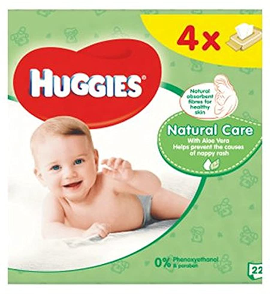 可塑性料理遺体安置所ハギーズの赤ちゃんは自然なケアクワッド56を払拭します (Huggies) (x2) - Huggies Baby Wipes Natural Care Quads 56 (Pack of 2) [並行輸入品]