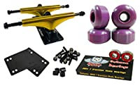 Owlsome 5.25メタリックゴールド/ブラックアルミニウムスケートボードトラックW / 52mmホイールコンボセット