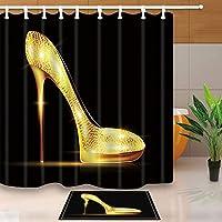 GooEoo ファッションガーリーデコレーション、女性のゴールデンハイヒールブラック、71X71in防黴ポリエステルファブリックシャワーカーテンスーツ15.7x23.6inフランネルノンスリップフロアドアマットバスラグ