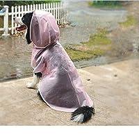 ペットレインコート レインコート 中型犬 小型犬 プラスチック製 透明な防水ペットレインコート 犬のマント 軽量 散歩 調整可能 着脱簡単 完全防水 耐久性 快適 小さなペットの服 耐久性 光 レインコート S-2XL 3.5-5kgのペット ピンク