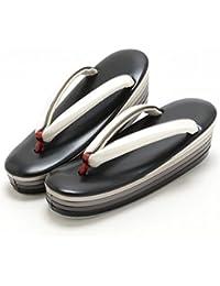 (キステ)Kisste 高級6枚芯お洒落草履 Mサイズ ブラック ×淡いクリーム 7-1-02837