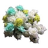 【glaystore】 バラ 造花 ローズ 薔薇 アレンジ 8センチ 50個セット 結婚式 2次会 パーティー ブライダルイベントに (グリーン×ミントグリーン×ホワイト)