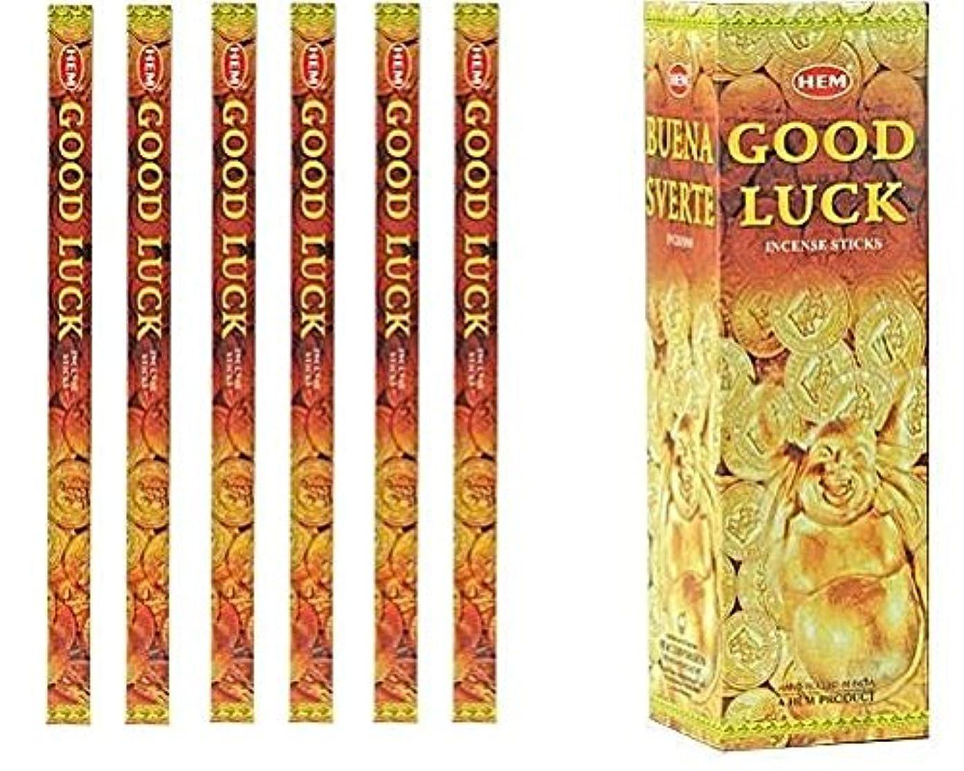 借りるずんぐりしたメトロポリタンインドHem Good Luck Incense 6パックX 8スティック、Wicca Pagan 8 Grm正方形ボックス