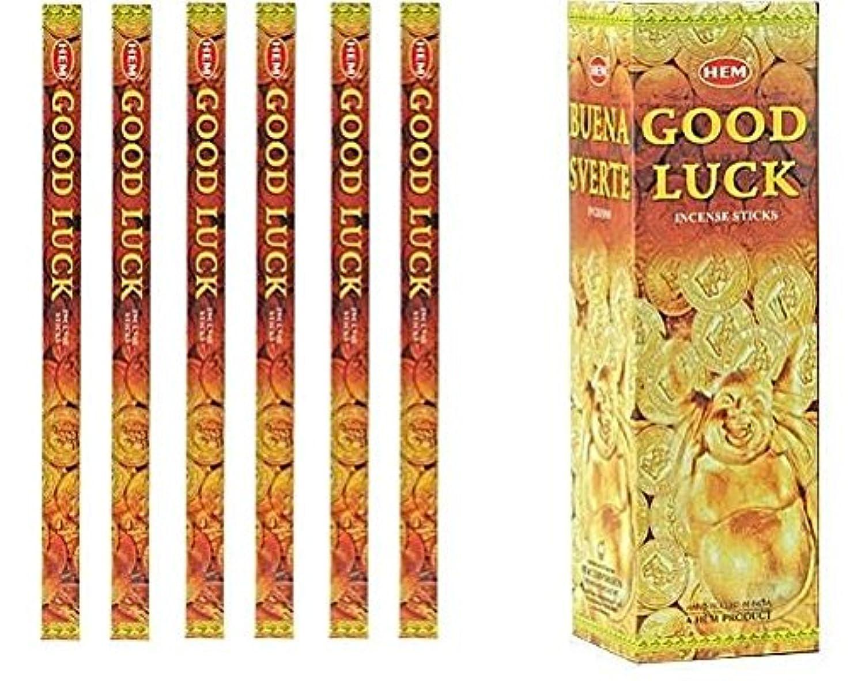 無意識補正保全インドHem Good Luck Incense 6パックX 8スティック、Wicca Pagan 8 Grm正方形ボックス