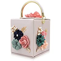 Milisente Evening Clutch Bag for Women Floral Square Box Evening Bags Crossbody Shoulder handBags Flower Wedding Clutch Purse