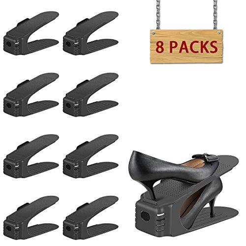 シューズボックス シューズホルダー 省スペース 靴スタンド 男女兼用 靴ホルダー 高さ調節機能付き シューズラック 廊下 玄関収納 靴立て 耐久性ストレージラック 主婦のヘルパー 8個セット シューズ すっきり 整理