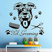 Lixiaoer ファッションデザインペット犬グルーミングアート柄ウォールステッカーショップハウスウィンドウステッカーDiy動物ビニールデカール装飾42×46センチ