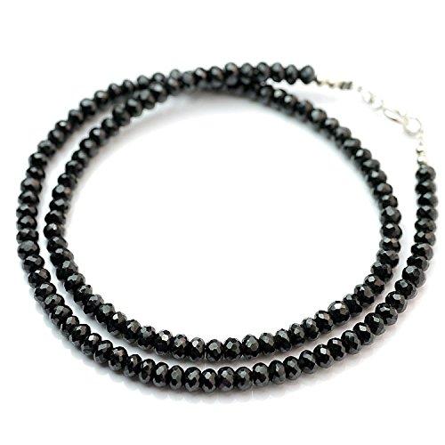 [해외]실버 원 (Silver1) ma 굵은 폭 5mm] 블랙 스피넬 검은 구슬 목걸이 925 남성/Silver One (Silver 1) ma eyes [Width 5 mm] Black Spinel Black Beads Necklace 925 Men`s