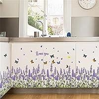 Chirstseason ウォールステッカー ラベンダー 紫 蝶 インテリア キッチン リビング 店舗装飾 剥がせる おしゃれ シール 壁紙 ウォールシール