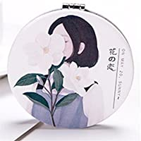 HuaQingPiJu-JP ミニ折り畳み漫画フラワーガールパターンミラー工芸装飾化粧品アクセサリー