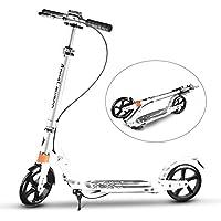 「SUNPIE」キックボード キックスクーター 黒 白 3段階にて調整 折り畳み式/足踏み式ブレーキ 持ち運び便利なベルト付き 機能充実 子供/大人用 2色