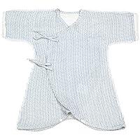新生児 コンビ肌着 男の子女の子 ヒッコリーモードオーガニックコットンWガーゼ ブルー 目安身長:50‐60cm 安心・安全の日本製 カズスタイル