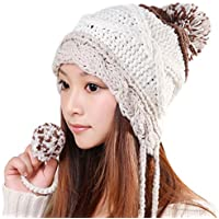 ALiberSoul Pom Pom Beanie Hat Ear Flap Winter Knit Hat