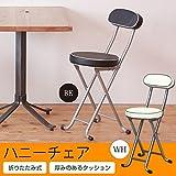 ハニーチェア(ブラック/黒) 折りたたみ椅子/カウンターチェア/合成皮革/スチール/イス/背もたれ付き/コンパクト/スリム/キッチン/クッション/パイプイス/完成品/NK-011