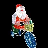 サイクリングサンタ LEDイルミネーション 自転車サンタ 屋外使用可 クリスタルモチーフ