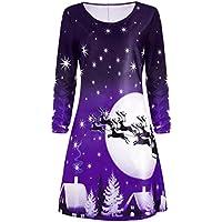 クリアランス!クリスマスドレス、zyoOHレディースクリスマス鹿サンタクローススノーフレーク印刷膝長ドレス長袖ラウンドネックドレス XXXL パープル