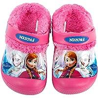 Joah Store Frozen Elsa Anna Girl's Warm Fur Clog Mule Sandals (Parallel Import/Generic Product)