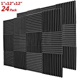 "BEWAVE Acoustic Foam Soundproofing Acoustic Panels, Sound Proof Padding Wedge Tiles Curtain for Studio Wall Piano Room 1""x12""x12"" (24 Pack, Black)"