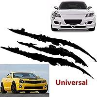 FidgetGear 車のヘッドライトの装飾のための黒のスクラッチストライプ爪スタイルビニールデカールステッカー