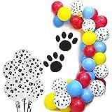 パウパーティーバルーン 100個入り - 赤 黄色 青 ラテックスバルーン 犬の足跡 パトロールテーマ パーティー 女の子 誕生日パーティー ベビーシャワー 装飾用