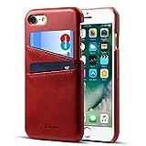 iPhone7 ケース カード収納 Rssviss レザー 軽量 iPhone8 ケース アイフォン8 カバー レッド