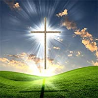 GooEoo 6.5x6.5ftビニール写真の背景日没の輝き雄大な輝くクロスグリーンの丘の上の風光明媚な背景キリスト教のシンボル信念聖書学校イベント教会壁画壁紙
