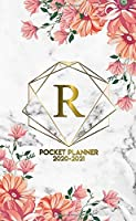 2020-2021 Pocket Planner: Initial Monogram Letter R Two-Year Monthly Spread Pocket Agenda & Organizer - Phone Book, Password Log & Notes - 2 Year (24 Months) Personal Calendar - Grey Marble & Gold Pink Floral