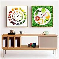 Zhaoyangeng クリエイティブフルーツポスターイチゴ野菜時間壁写真用リビングルーム装飾壁アートキャンバス絵画-50×50センチ×2フレームなし