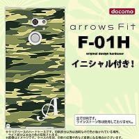 F01H スマホケース arrows Fit ケース アローズ フィット イニシャル 迷彩B 緑A nk-f01h-1172ini D