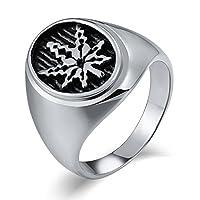 Aienid ジュエリー ステンレス 婚約指輪 メンズ パンク ヤシの樹 シルバー デート プレゼント 日本サイズ24