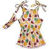 hfeweng 幼児の女の子のコットンフルーツプリントストラップドレス+ヘッドバンドドレスセット6ヶ月 - 24ヶ月 ?色: 大小:70
