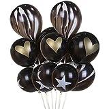 amleso 風船 バルーン 写真の小道具 瑪瑙 星 心臓 装飾 誕生日 結婚式 黒 約30個