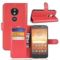 あなたの携帯電話を保護する Litchi TextureモトローラMoto E5用横置きフリップレザーケース、財布&ホルダー&カードスロット付 (色 : 赤)