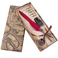 Youngawi 万年筆 フェザーペン 羽毛ペン 羽飾り 高級感 署名ペン プレゼント 4点セット