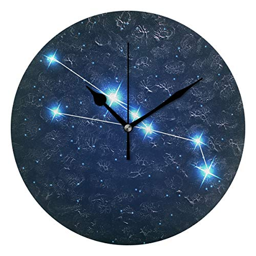 ユキオ(UKIO) 掛け時計 置き時計 壁掛け時計 室内 部屋装飾 壁時計 インテリア おしゃれ 北欧 こぎつね座 星座柄 ギフト 時計 アート 部屋 ウォールクロック 円型 かわいい
