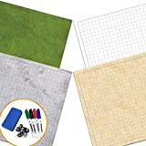 RPG Battle Game Mat - 2 Pack Dry Erase Double sided 36 x 24 (4 Terrains) + 4 Dry Erase Markers + 1 Eraser + 7pc Polyhedral Dice Set - Large Table Top Role Playing Map for Starters and Masters