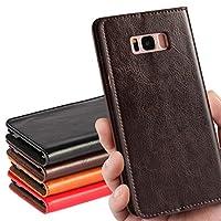 Galaxy S8+ SC-03J /SCV35ケース Samsung Galaxy S8 plus 【iCoverCase 】牛革【光沢加工 牛革】カバー (ダークブラウン)手帳型 携帯カバー カードポケット クレイジーホースのパターン スタンド機能 【選べる4色】 ダークブラウン