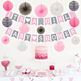 Baby Shower Decorations for Girl Kit | BABY SHOWER & IT'S A GIRL Garland Bunting Banner | Paper Lanterns | Paper Honeycomb Balls | Tissue Paper Fans | Pink Grey White | Hanging Party Decorations [並行輸入品]