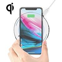 ワイヤレス充電器 10W Qi無線充電器 超薄型ワイヤレスチャージャー LEDランプ付き デスクトップスマホ iPhone X/8/8 Plus/Galaxy S9 Plus/S8/S8Plus/Note8 デバイス等に対応 急速充電 置くだけ充電(ホワイト)