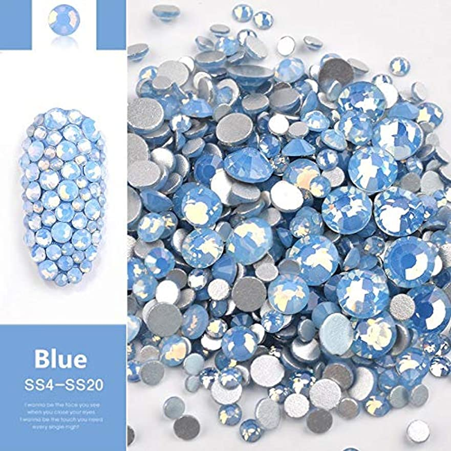 接続された緩やかな第五OWNFSKNL ビーズ樹脂クリスタルラウンドネイルアートミックスフラットバックアクリルラインストーンミックスサイズ1.5-4.5 mm装飾用ネイル (Color : Blue)