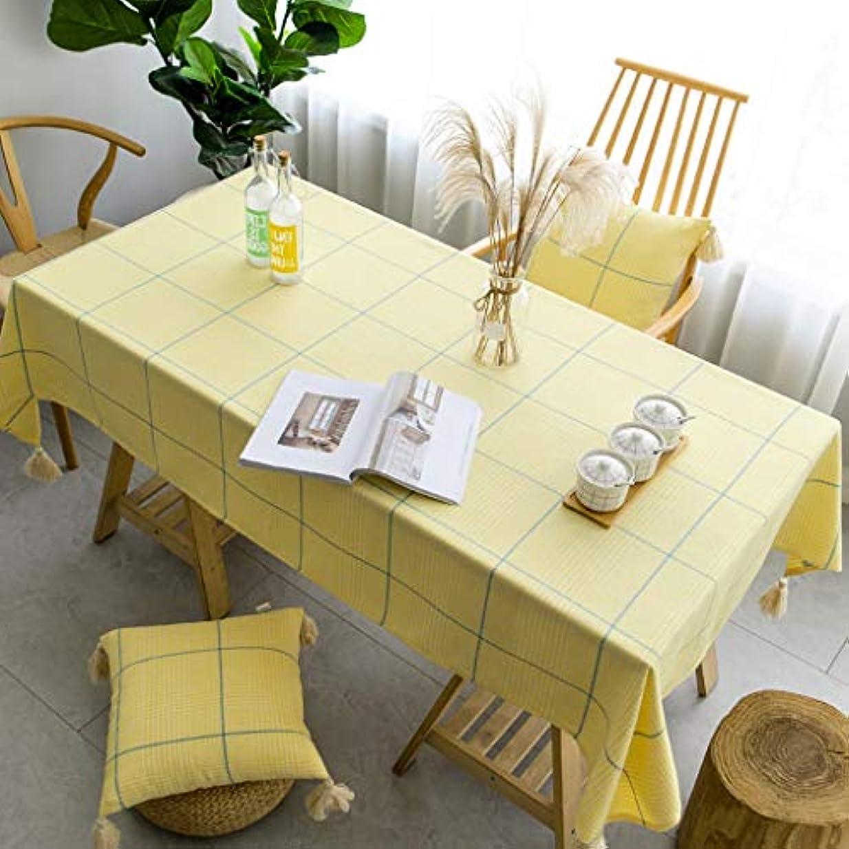 鉛マスタードとても多くのホームデコレーションキッチンガーデン屋外のために使用される長方形テーブルクロス、チェック柄のコットン生地テーブルクロス、 (Color : Yellow, Size : 130*180cm)