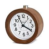 FiBiSonicR アナログ 目覚し時計 連続秒針 置き時計 アラームクロック ライト付き スヌーズ 丸型 ナチュラル風 S01(ブラウン)