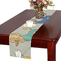 GGSXD テーブルランナー 面白い プードル クロス 食卓カバー 麻綿製 欧米 おしゃれ 16 Inch X 72 Inch (40cm X 182cm) キッチン ダイニング ホーム デコレーション モダン リビング 洗える