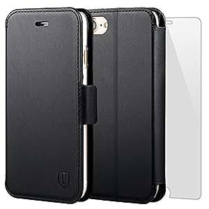 iPhone7 ケース iPhone 8 ケース手帳型ケース TANNC 「強化ガラスフィルム付き」 透明内装ケース 財布型ケース レザーケース マグネット式 カード収納 ポケットホルダー付き スタンド機能付き アイフォン7 ケース/アイフォン8 ケース ブラック